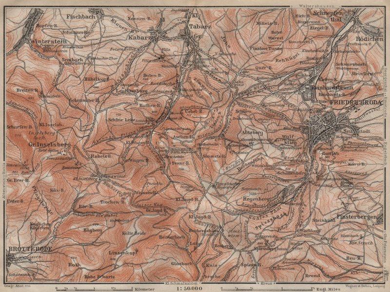 Associate Product FRIEDRICHRODA & Thüringer Wald. Brotterode Großer Inselsberg Thuringia 1910 map