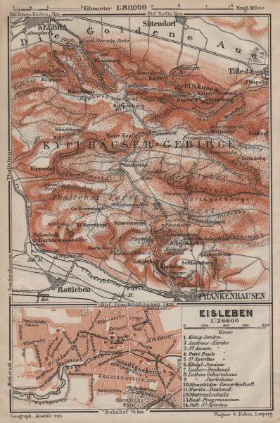 Associate Product KYFFHÄUSER-GEBIRGE. Frankenhausen Kelbra. EISLEBEN plan. Saxony-Anhalt 1910 map