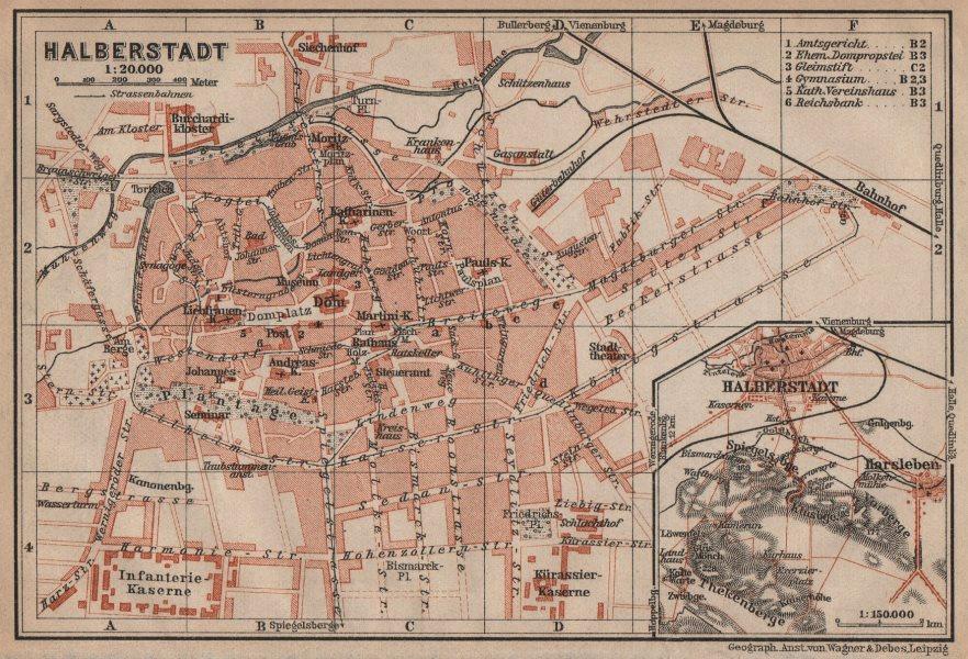Associate Product HALBERSTADT antique town city stadtplan. Saxony-Anhalt karte. BAEDEKER 1910 map
