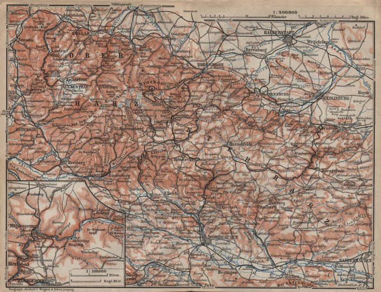 Associate Product HARZ MOUNTAINS topo-map. Harzgerode. Halberstadt Nordhausen karte 1910 old