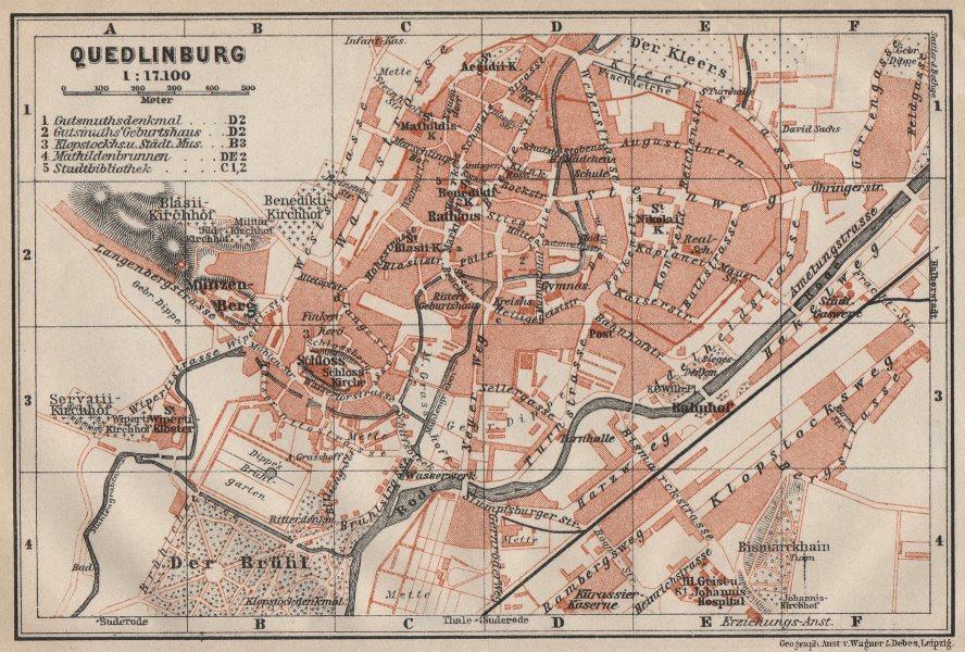 QUEDLINBURG antique town city stadtplan. Germany karte. BAEDEKER 1910 old map