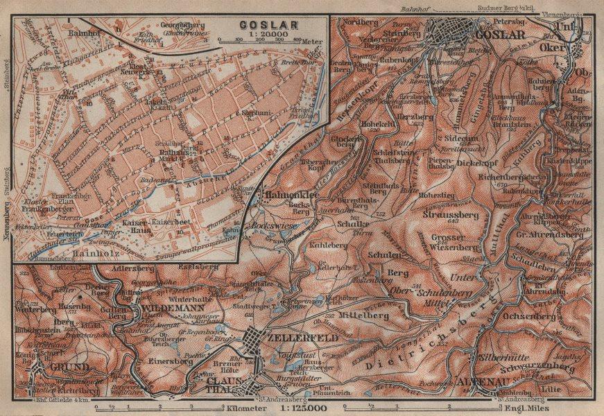 Associate Product GOSLAR town city stadtplan. Clausthal-Zellerfeld OBERHARZ mountains 1910 map