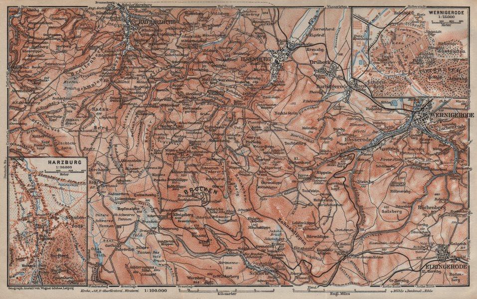 Associate Product BAD HARZBURG & WERNIGERODE town city stadtplan. HARZ MOUNTAINS. Brocken 1910 map