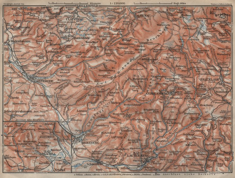 Associate Product HARZ MOUNTAINS from Osterode to the Brocken. Herzberg St Andreasberg 1910 map