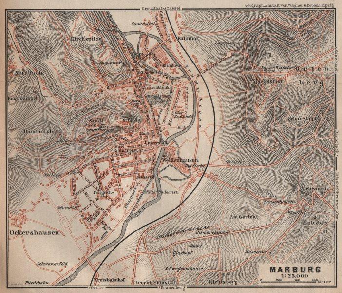 Associate Product MARBURG antique town city stadtplan. Hessen karte. BAEDEKER 1910 old map