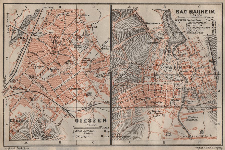 Associate Product BAEDEKER. Giessen. Bad Nauheim. Central Germany 1910 old antique map chart