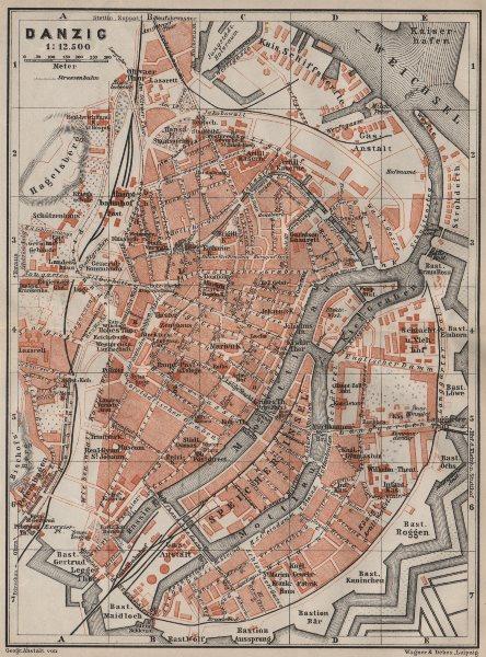 Associate Product GDANSK antique town city plan miasta. Gdańsk Danzig. Poland mapa 1910 old