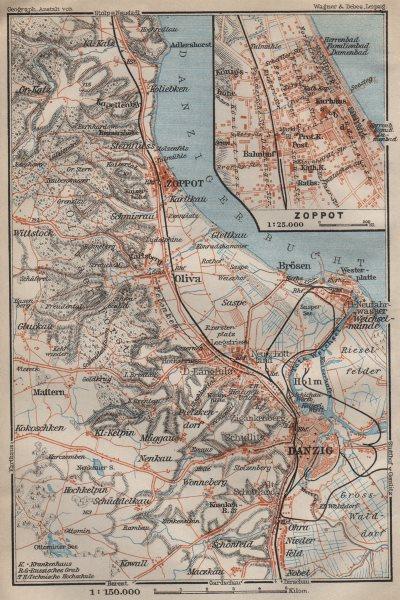 Associate Product GDANSK & environs. Zoppot Sopot Danzig Gdańsk. Poland mapa. BAEDEKER 1910