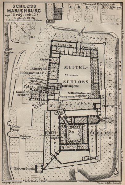 Associate Product ZAMEK W MALBORKU. Ordensburg Marienburg. Malbork Castle plan. Poland 1910 map