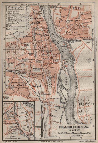 Associate Product FRANKFURT AN DER ODER antique town city stadtplan. Hessen karte 1910 old map