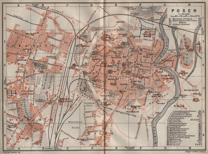 Associate Product POSEN POZNAN antique town city plan miasta. Poznań. Poland mapa 1910 old