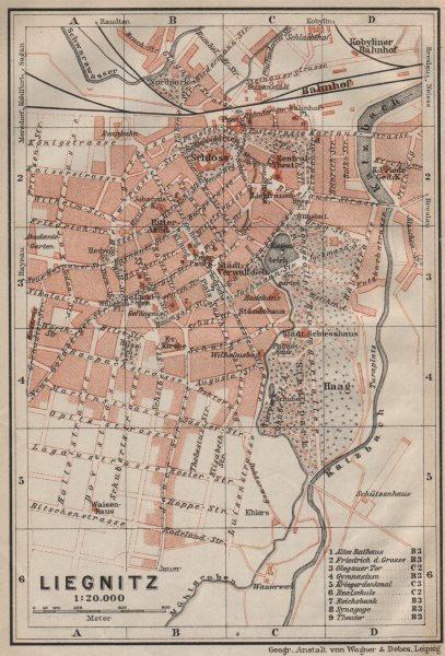 Associate Product LIEGNITZ LEGNICA antique town city plan miasta. Silesia, Poland mapa 1910