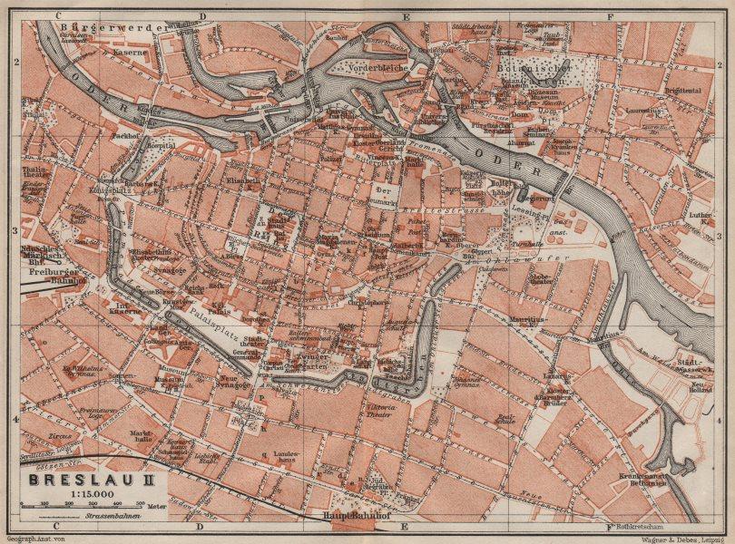 Associate Product BRESLAU WROCŁAW antique town city plan miasta II. Wroclaw. Poland mapa 1910
