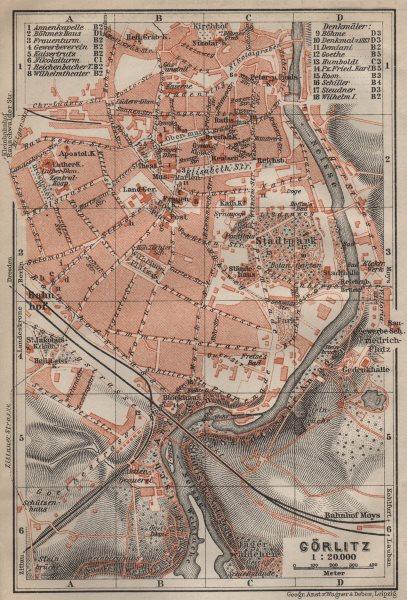 Associate Product GÖRLITZ antique town city stadtplan. Saxony karte. BAEDEKER 1910 old map