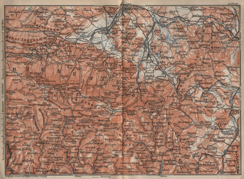 Associate Product KARKONOSZE KRKONOŠE MOUNTAINS. Jelenia Gora Cieplice Lubawka Czech Rep 1910 map