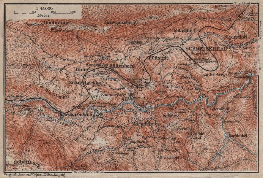 Associate Product SZKLARSKA POREBA environs. Schreiberhau Szklarska Poręba Silesia Poland 1910 map