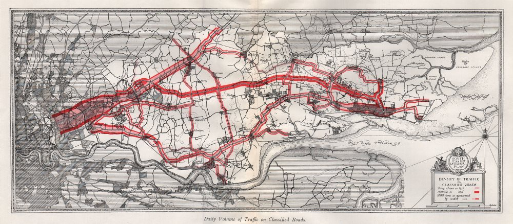 SOUTH ESSEX Daily road traffic volume 1922 & 1925. Thames Estuary 1931 old map