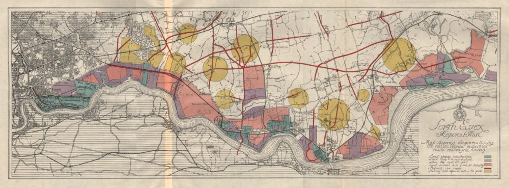 Associate Product SOUTH ESSEX REGIONAL PLAN. Industrial residential zoning roads railways 1931 map