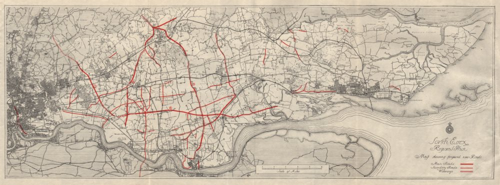 Associate Product SOUTH ESSEX REGIONAL PLAN. Proposed new roads & road widening 1931 old map
