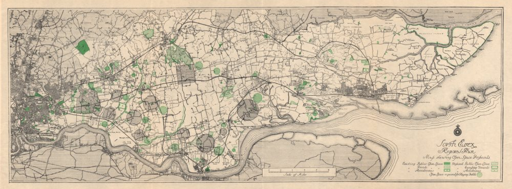 Associate Product SOUTH ESSEX REGIONAL PLAN open space proposals. Parks camp sites 1931 old map