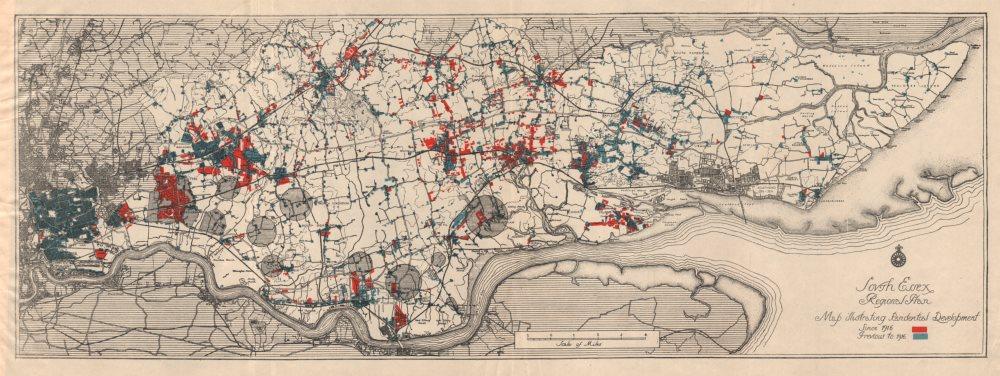 Associate Product SOUTH ESSEX REGIONAL PLAN. Residential development <1916 & since 1916 1931 map