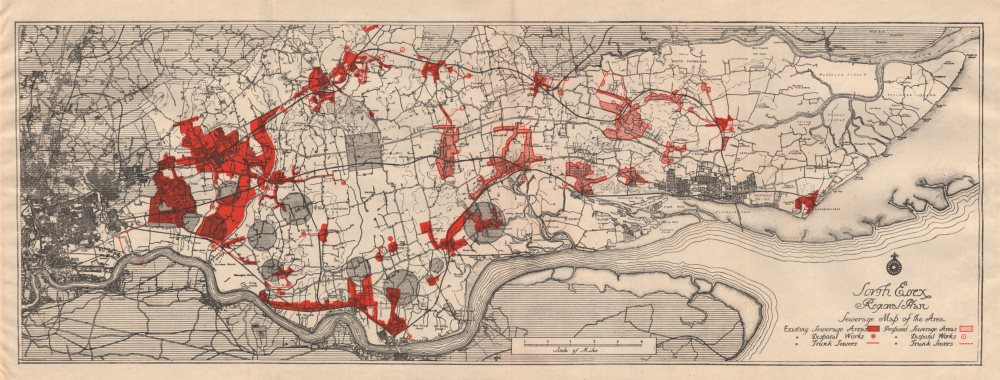 Associate Product SOUTH ESSEX REGIONAL PLAN. Sewerage map. Treatment works existing/proposed 1931