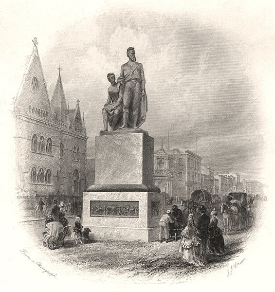 """Associate Product """"Burke & Wills Monument, Melbourne"""", by Edwin Carton BOOTH. Australia c1874"""