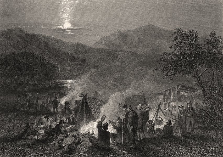 """Associate Product """"Night Scene in the Diggings"""", by E.C. BOOTH/John Skinner PROUT. Australia c1874"""