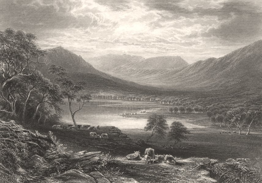 """Associate Product """"Victoria Valley & Mount Caroline"""", by E.C. BOOTH/N. CHEVALIER. Australia c1874"""