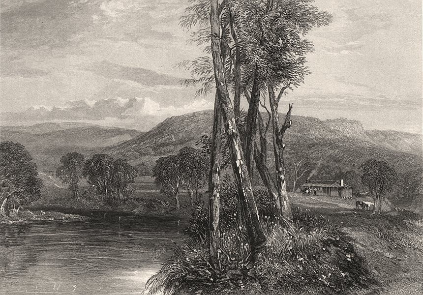 """Associate Product """"On the Goulburn, Victoria"""", by E.C. BOOTH/John Skinner PROUT. Australia c1874"""
