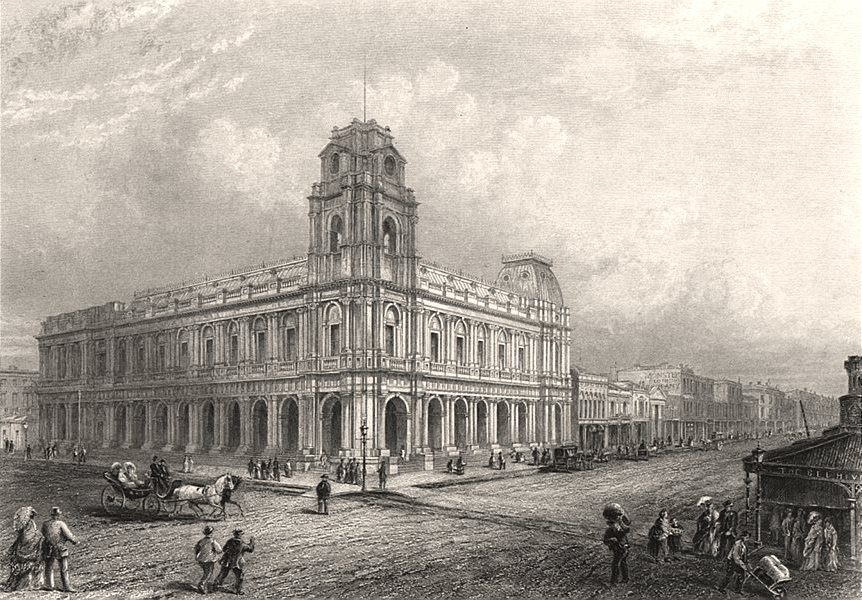 """Associate Product """"Post Office, Melbourne"""", by Edwin Carton BOOTH. Victoria, Australia c1874"""