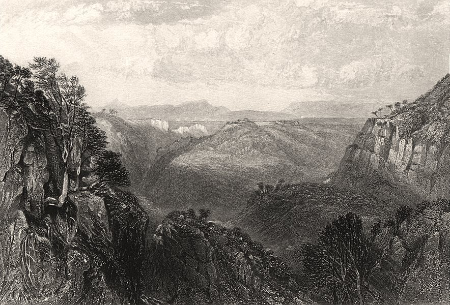 """""""View from Top of Grose Head"""". BOOTH/PROUT. Blue Mountains, NSW, Australia c1874"""