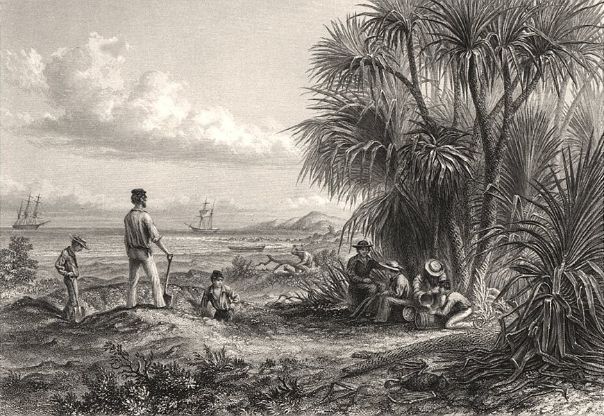 """Associate Product """"An Explorer's Camp"""", by Edwin Carton BOOTH after Thomas BAINES. Australia c1874"""
