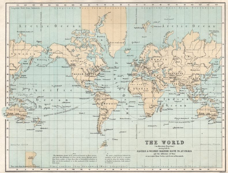 Associate Product The World showing the eastern & western maritimes routes to Australia c1874 map