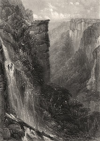 """""""Fall of The Weatherboard"""", by BOOTH/PROUT. Blue Mountains, NSW, Australia c1874"""
