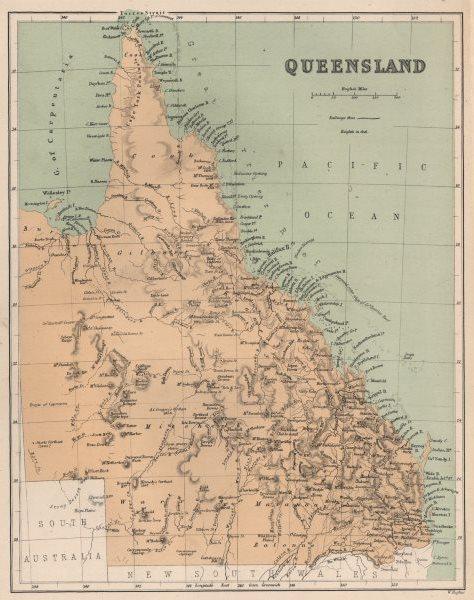 """Associate Product Queensland state map showing 'supposed outer edge of Grt. Barrier Reef"""" c1874"""