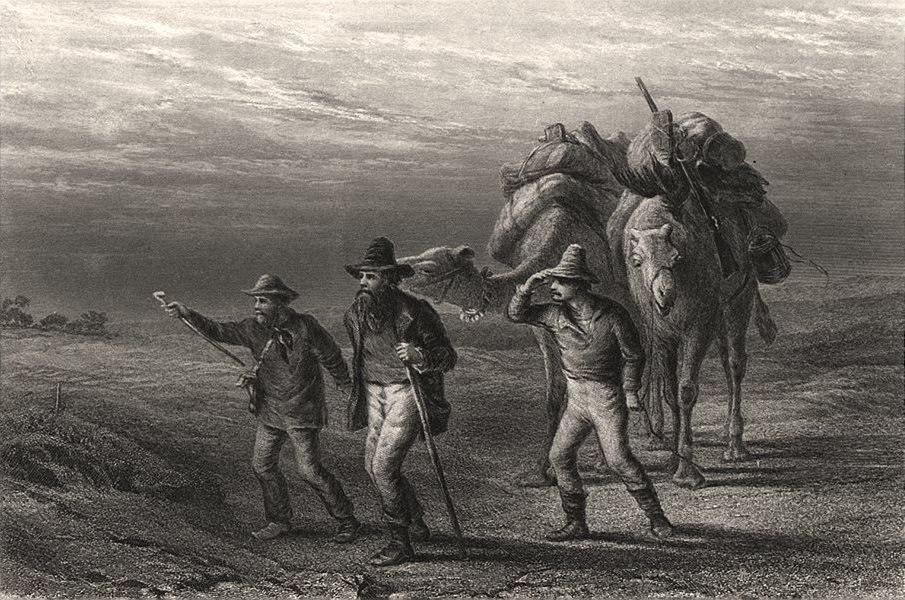 """""""Return of Burke & Wills to Coopers Creek"""". BOOTH/CHEVALIER. Queensland c1874"""