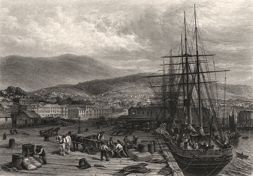 """Associate Product """"The Quay, Hobart Town"""", by Edwin Carton BOOTH. Australia c1874 old print"""