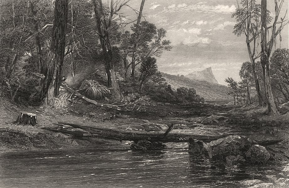 """Associate Product """"Source of the Derwent, Tasmania"""", by E.C. BOOTH/J.S. PROUT. Australia c1874"""