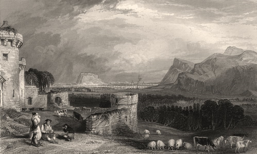 Associate Product Edinburgh from Craigmillar Castle. Midlothian. Scotland. ALLOM c1840 old print