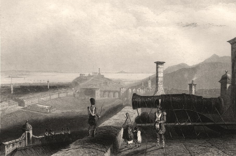 Associate Product Edinburgh from the castle ramparts. The Mons Meg gun. Scotland. BARTLETT c1840