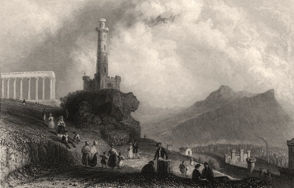 Associate Product The Calton Hill, with the Nelson Monument. Scotland. BARTLETT c1840 old print