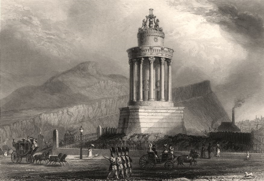 Burns Monument on the Calton Hill, Edinburgh. Scotland. MOSSMAN c1840 print
