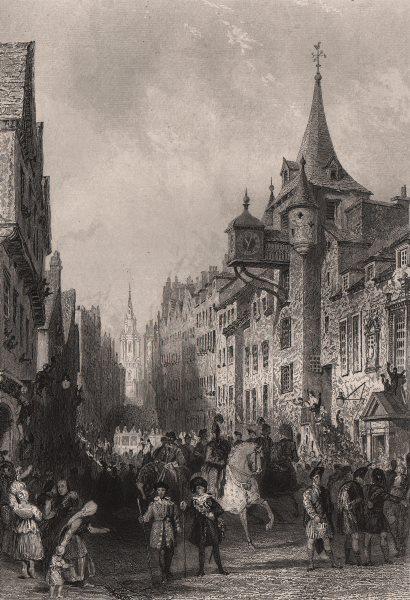 Associate Product The Canongate, Edinburgh. 1822 procession King George IV Royal Mile. ALLOM c1840
