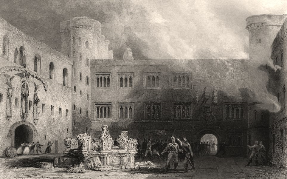 Associate Product Inner Court of the Palace of Linlithgow. Scotland. ALLOM c1840 old print