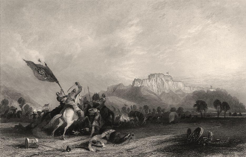 Associate Product Town & castle of Stirling. Battle of Sauchieburn 1488. Scotland. ALLOM c1840