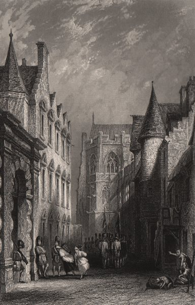 Castle Wind (Wynd), Mar's Wark and Cathedral. Stirling. Scotland. ALLOM c1840