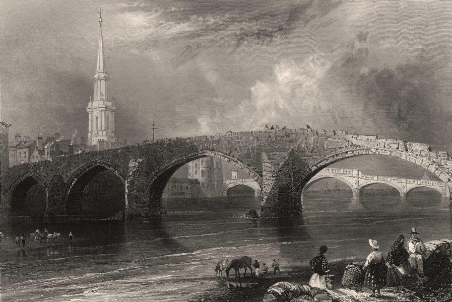 Associate Product The Twa Brigs, Ayr. The old & new bridges. Ayrshire. Scotland. BARTLETT c1840