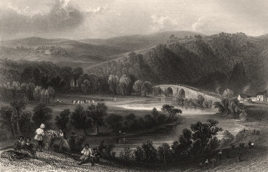 Associate Product Ayr Water at Stair. Bridge and Ayr river. Scotland. BARTLETT c1840 old print