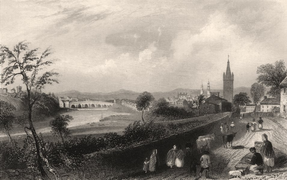 Associate Product The town of Dumfries. Dumfries-shire. Scotland. BARTLETT c1840 old print